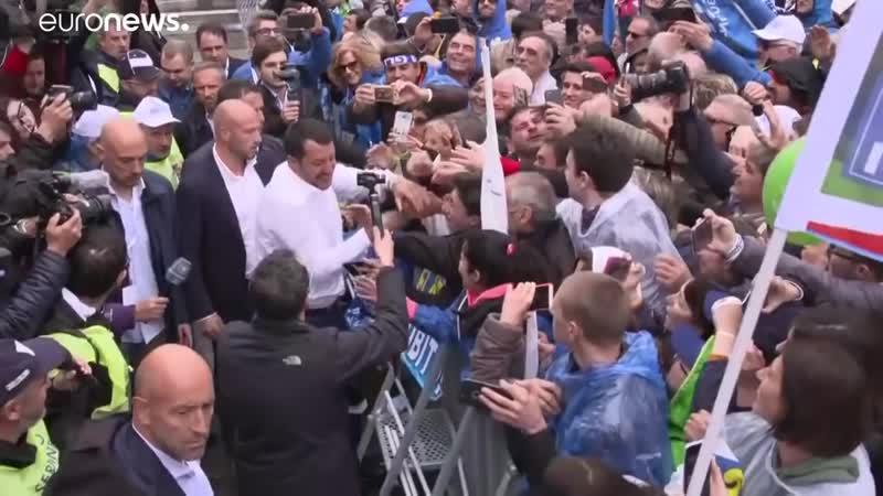 Wahlkampf vor der Europawahl- Rechtsallianz von Salvini trifft sich in Mailand_HD.mp4