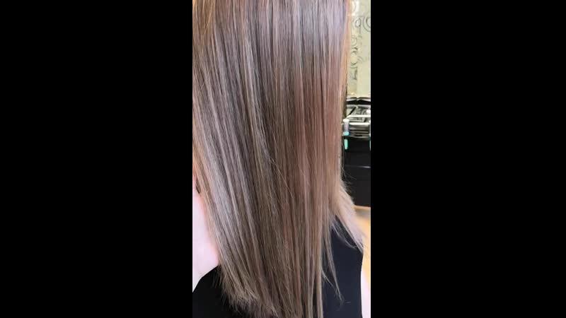 Окрашиввние с мягким осветлением продуктами Loreal и качество волоса на высоте.