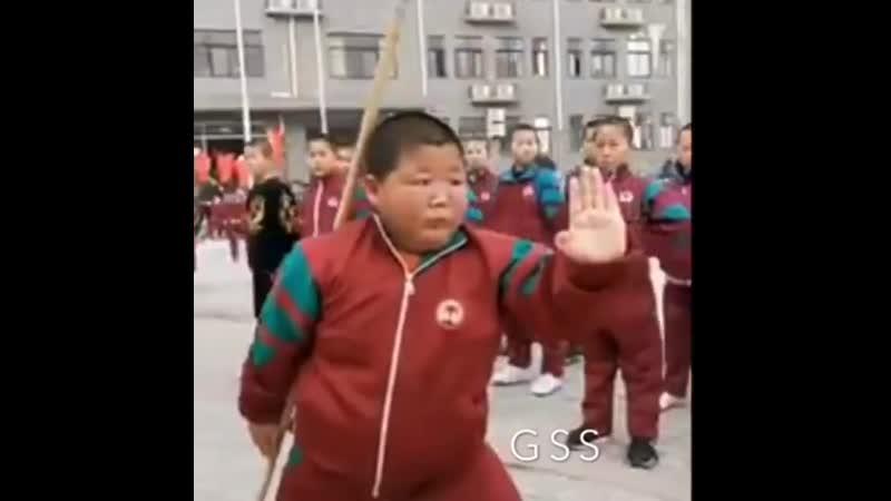 Big boy kung fu training