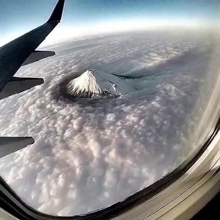 Mount fuji among the clouds