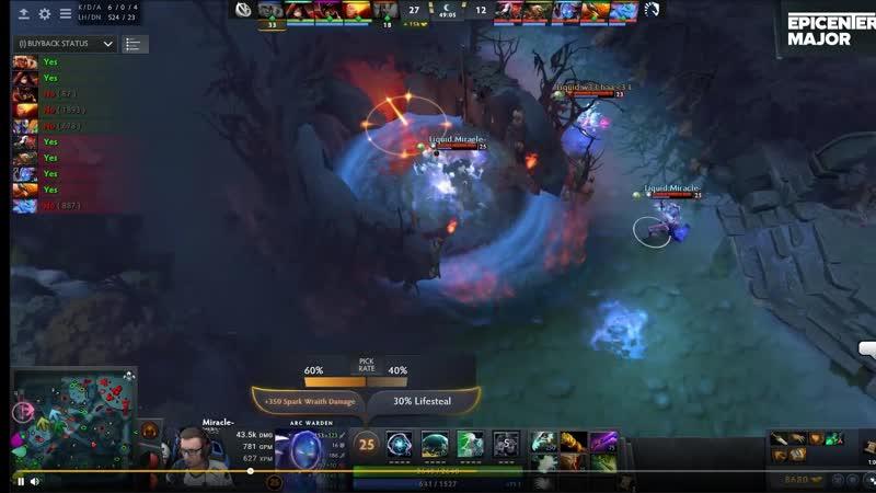 Миракл убивает рошана за 1 секунду! Miracle kill roshan within 1 second!