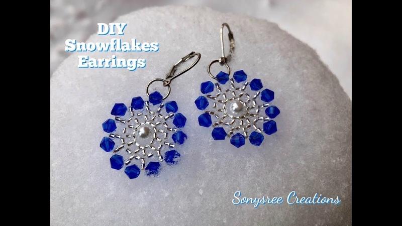 Snowflake Earrings. DIY Beaded Earrings 💞 Sonysree Creations