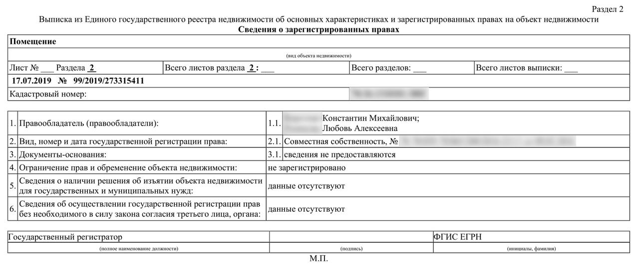 Пример выписки из ЕГРН