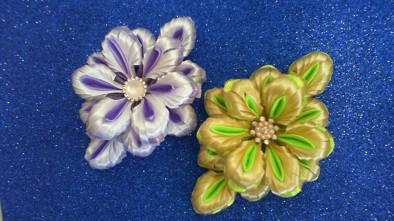 DIY МК Как сделать пышные банты цветы из узких лент 0 6 см