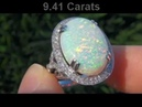 10.18 Carat Australian Opal Diamond Cocktail Ring - Coober Pedy Mine - Estate Sale