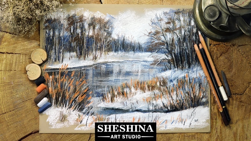 How to draw a winter landscape in limited color with soft pastels and charcoal 🎨 LANDSCAPES