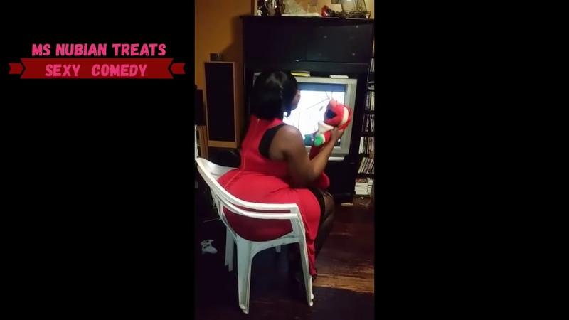 BIG MOMMA SIT N CHAIR ELMO ATTACKS BBW LADY IN RED CHAIR BUTT CRUSH COMEDY SIT WATCH TV