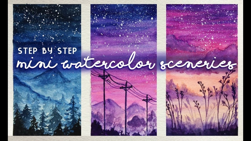 Mini Watercolor Sceneries: Paint with me