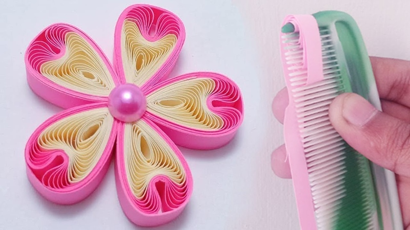 New Amazing ideas With paper 2019 Make Paper quilling flower Easily by Hair Comb Hair comb hacks