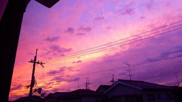 За несколько часов до тайфуна «Хагибис» небо в Японии стало ярко-фиолетовым Когда японцы готовились покинуть свои дома, ожидая прибытия тайфуна «Хагибис», они подняли глаза и увидели невероятное