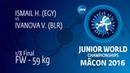 1/8 FW - 59 kg: V. IVANOVA (BLR) df. H. ISMAIL (EGY), 6-5