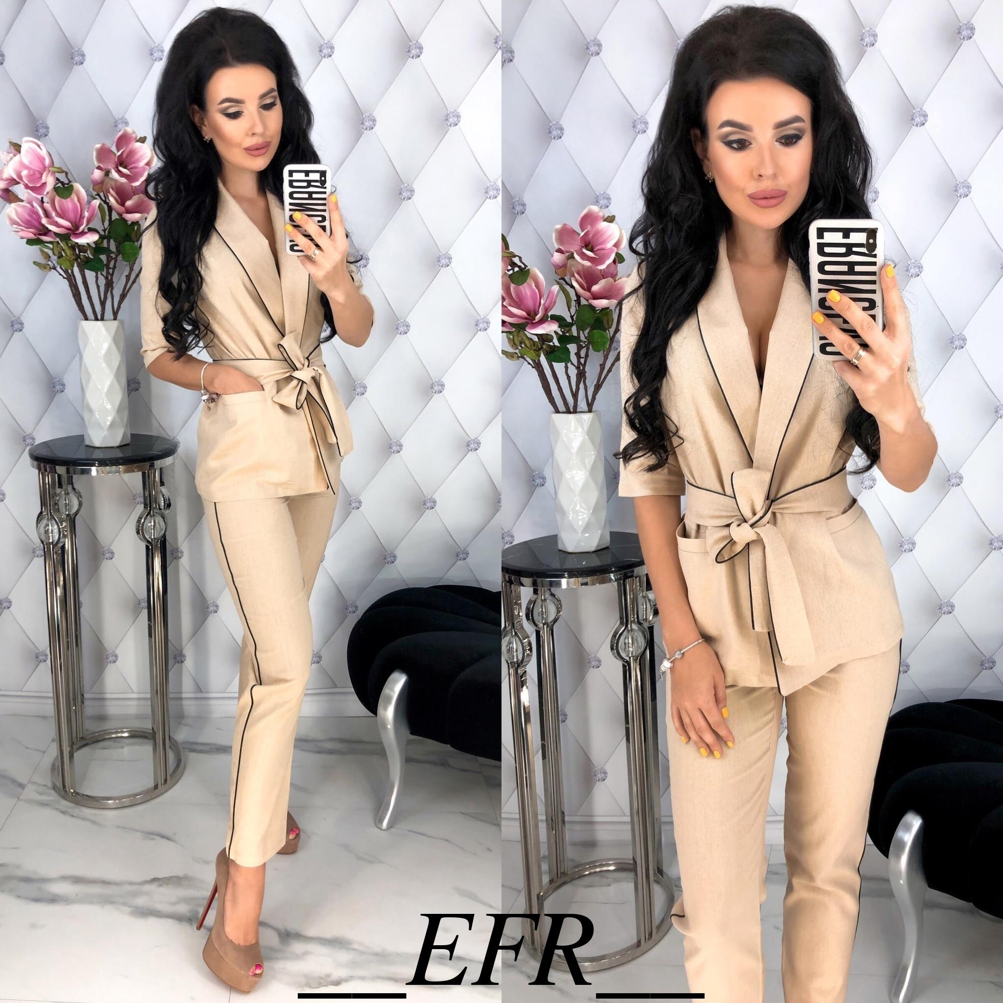 402cad19f509 Льняной брючный костюм женский (5 цветов) - Черный ЕФ/-396, цена 652 ...
