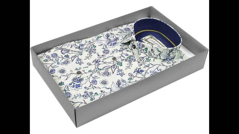Фисташковая приталенная мужская рубашка Louis Fabel 5975 50 в цветах с коротким рукавом