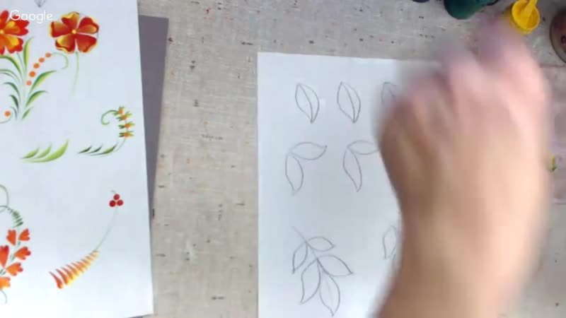 Курс урало-сибирской росписи_ Урок 2_ Часть 2_ сложные моменты в росписи листьев_ (720p)