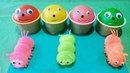 4 Colors Play Doh Ice Cream Cups We Learn Colors with a caterpillar-antistress