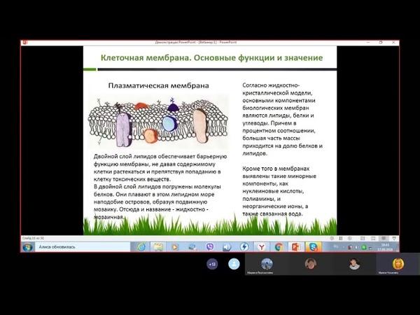 Клеточные мембраны и гидроплазма Инюшина Лектор Ирина Чеканина