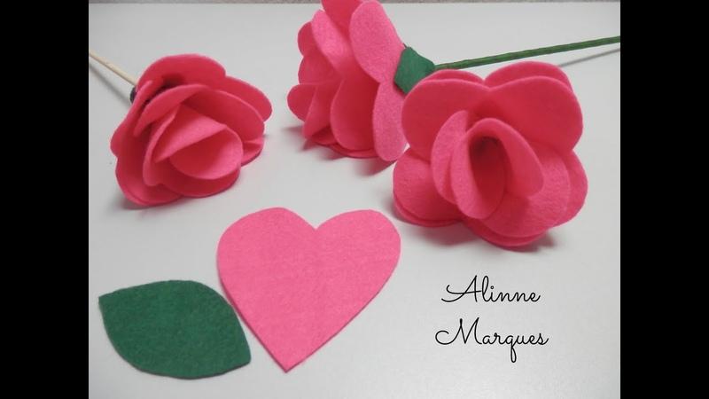 Rosa de feltro 7 Pétala de coração Artesanato Passo a passo