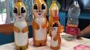 Ardillas con botellas de plástico
