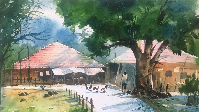 Watercolor landscape painting | Speed painting in Watercolor by Prashant Sarkar.