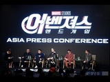 Brie Larson, Robert Downey Jr. ,Jeremy Renner, Kevin Feigi &amp Russos at Press Conference in Seoul