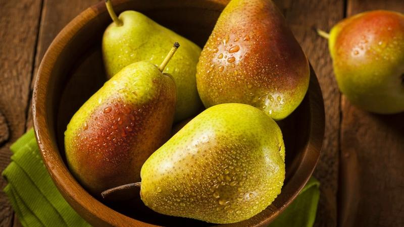 Картинка еда. Фрукты, drops, груши, bowl, миска, pear, капельки, fruit, JPEG