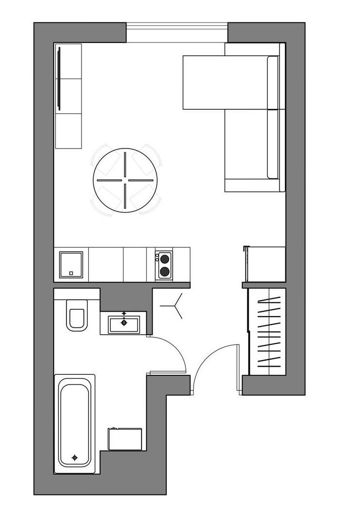 Интересный интерьер маленькой квартиры, площадь 24 кв.