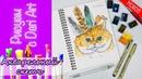 ВИДЕО УРОК\TUTORIAL Рисуем акварельный скетч с котом! Dari_Art