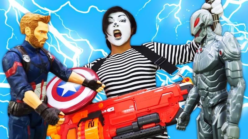 Spielzeugvideo für Kinder. Captain America vs Ultron. Video mit Clown Sonya.