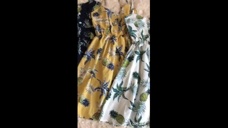 Яркие летние сарафаны с ананасами🍍🍍🍍 Размер: универсал 42-44 Цвет: синий,белый,желтый Ткань: поликоттон Длина 73см без учета лям