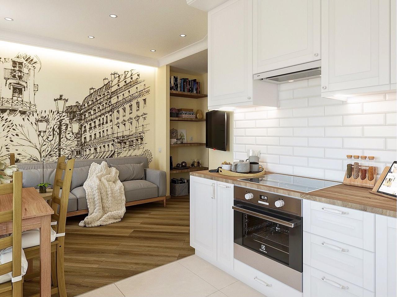 Проект гостиной, совмещенной с кухней.