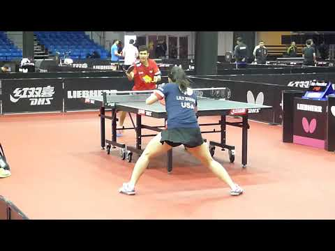 Lily ZHANG and Kanak Jha TEAM USA in Training at ITTFWorlds2019