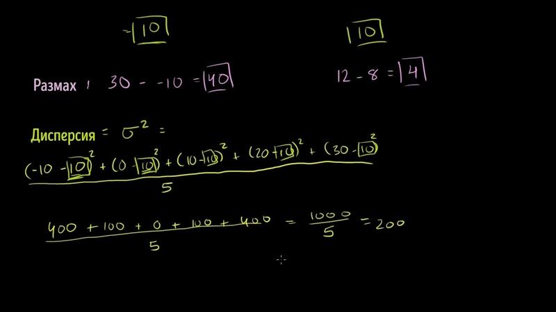 Размах, дисперсия и среднее квадратическое отклонение | Статистика и теория вероятностей