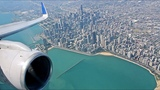 United Airlines B757-300 Arrival at Chicago OHare Approach over City w Views