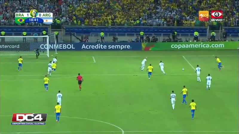 GOAL - BRA 1- 0 ARG - Gabriel Jesus scores the opening goal of the match and Brazil are