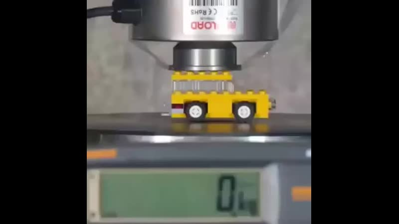 The pressure required to crush this lego vehicle