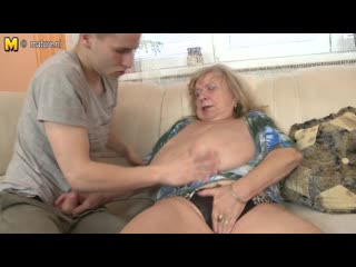 Big breasted mom playing with her toy boy - sex and granny