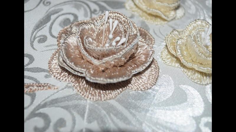 تطريز وردة 3d بشرح واضح 1 مع مريمة 1 Embroidery Rose wonderful 3d