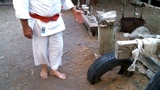 How to Build a knee breaking karate training station with an old tire