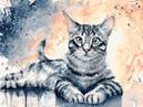 Живопись на холсте Барсик Painting on canvas Barsik 30 х 40 см cm