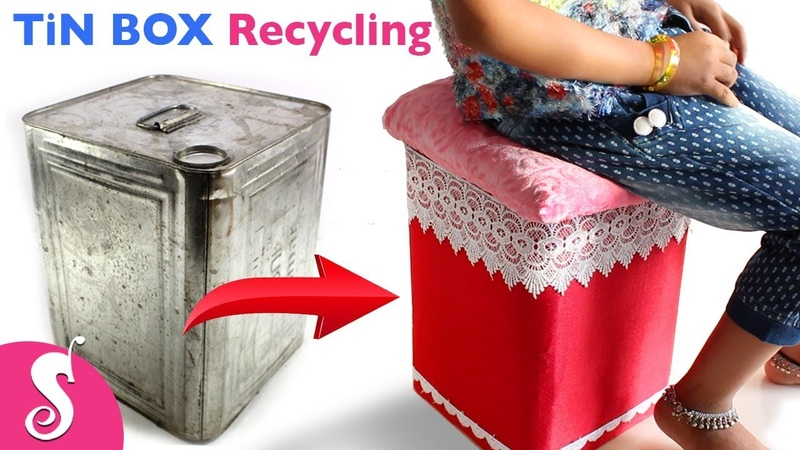 Tin BOX Idea | Make Easy STOOL TABLE reusing Waste TiN BOX | Best Out of Waste with Tin Box