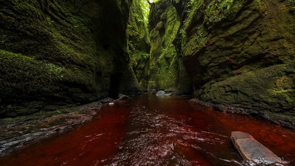 Финнич Глен место в Шотландии с кроваво-красной водой, пещерой и водопадами Шотландия одно из самых известных мест по количеству интересных и таинственных достопримечательностей. Для того чтобы