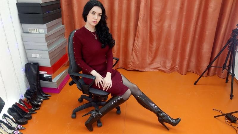 Nana's square toe high heels Gianmarco Lorenzi brown patent leather boots
