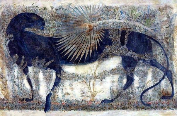 Мераб Абрамишвили Один из немногих, кто все свои картины писал темперой на левкасе. В самом конце поверхность покрывалась желтком. Благодаря незаурядному таланту и трудоёмкому процессу, ему