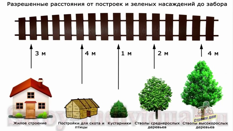 отступы от границ земельного участка при строительстве жилого дома, хоз. построек, насаждений