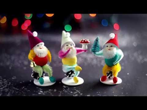 Christmas Elf Craft Kit - DIY Retro Spun Cotton and Pine Cone Elves