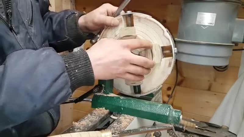Самодельный патрон для токарного по дереву,испытание