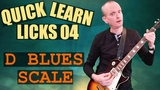 Electric Guitar Licks Tutorial - Quick Learn Licks 04 - D blues scale based
