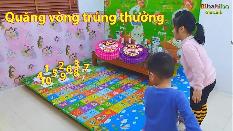 Gia Linh và em Cò chơi quăng vòng trúng thưởng kẹo Hubba Bubba