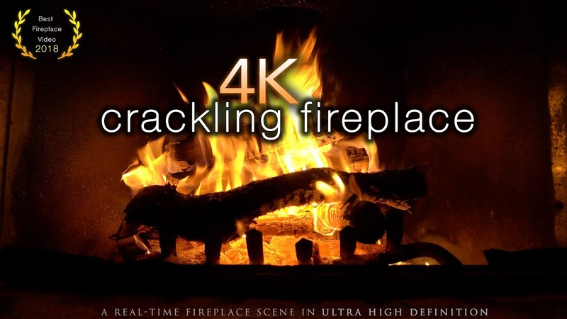 🔥 4K Crackling Fireplace with Real Fire Sounds Real-Time 2 Hours Screensaver 4K UHD