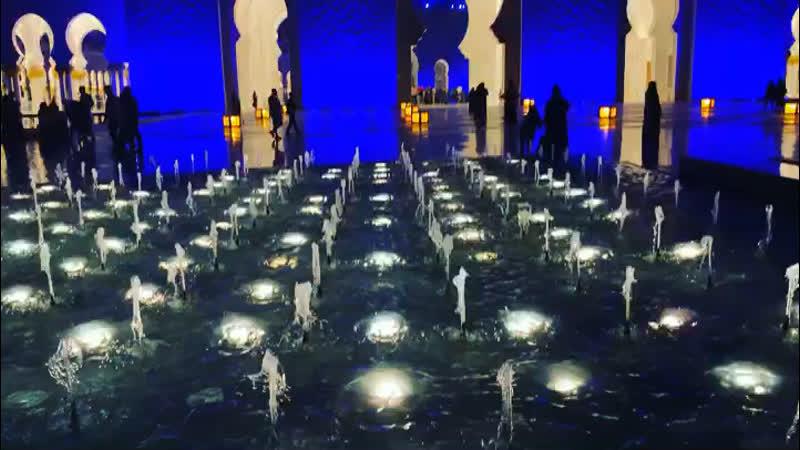 Подсветка мечети и фонтаны
